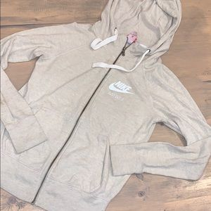 Beige Nike zip up hooded sweatshirt